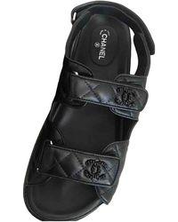 Chanel Dad Sandals Leder Pantoffeln - Schwarz