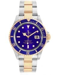 Rolex Blue 18k Yellow Gold And Stainless Steel Submariner 16613 Men's Wristwatch 40mm