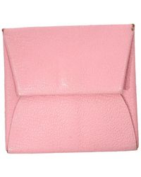 Hermès - Pre-owned Bastia Pink Leather Purses, Wallets & Cases - Lyst