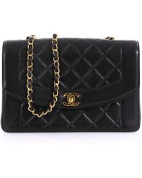 b24798efc0da Chanel - Vintage Diana Black Leather Handbag - Lyst