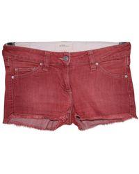 Étoile Isabel Marant Shorts en Coton - elasthane Rouge - Multicolore