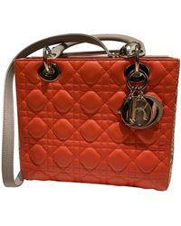 Dior Borsa a mano in pelli esotiche arancione Lady
