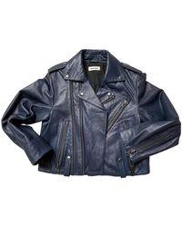 Zadig & Voltaire Leather Biker Jacket - Blue