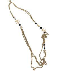 Chanel Collar largos en metal dorado CC - Multicolor