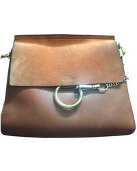 Chloé Faye Camel Leather Handbag - Natural