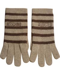 Moschino Camel Wool Gloves - Multicolour