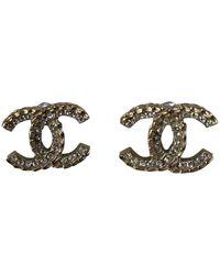 Chanel Pendientes en metal plateado CC - Multicolor