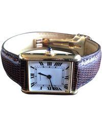 Cartier Tank Louis Gelbgold Uhren - Weiß