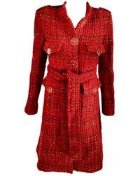 Chanel Abrigo en tweed rojo
