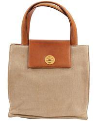 BVLGARI - Beige Cotton Handbag - Lyst