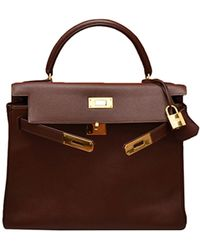 Hermès Sac à main Kelly 32 en Cuir Marron