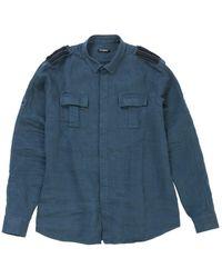 Balmain Shirt Leinen Blau