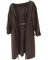 Halston \n Grey / Brown Cashmere Coat - Gray