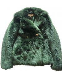 Michael Kors Faux Fur Short Vest - Green