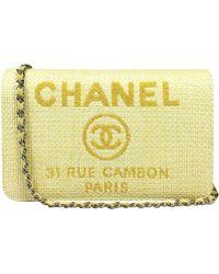 febc6ad726c8 Lyst - Chanel Cc Mark Travel Caseclutch Bag Yellow Matt Caviar ...