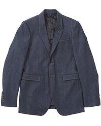 Burberry - Blue Cotton Jacket - Lyst