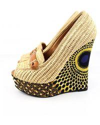 Burberry Cloth Sandals - Natural