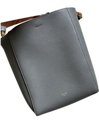 Celine Seau Sangle Leather Handbag - Grey