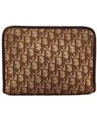 Dior Vintage Brown Cloth Clutch Bag