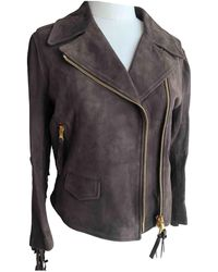 Moschino - Brown Leather Jacket - Lyst