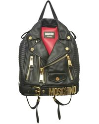 9c53fe3a8ccc Moschino Black & Red Biker Jacket Backpack in Black - Lyst
