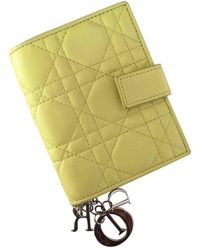 Dior Lady Yellow Leather Wallets
