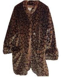 Nina Ricci Faux Fur Coat - Brown