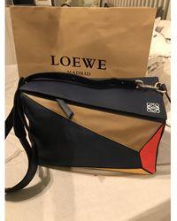 Loewe Puzzle Leder Handtaschen - Schwarz