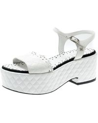 Chanel White Quilted Leather Cc Ankle Strap Platform Sandals Size 39