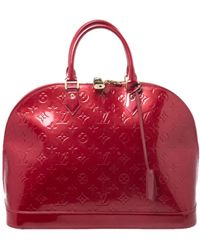 Louis Vuitton Alma Patent Leather Satchel - Red