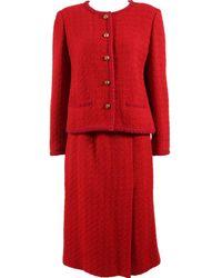 Chanel Wolle Kostüm - Rot