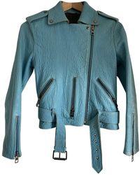 AllSaints Leather Biker Jacket - Blue