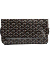 Goyard \n Brown Cloth Clutch Bag