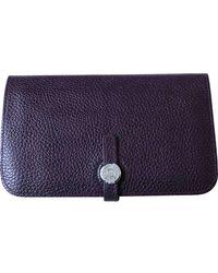 Hermès Dogon Purple Leather Purse Wallet & Case
