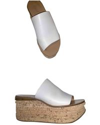 Chloé Camille Leather Mules - White