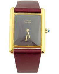 Cartier - Vintage Tank Must Burgundy Silver Gilt Watches - Lyst
