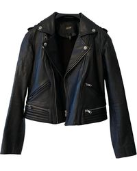 Maje Black Leather Leather Jacket