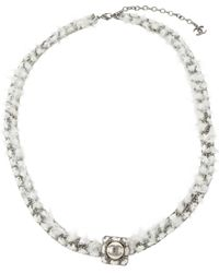 Chanel Silver Metal Long Necklace - Metallic