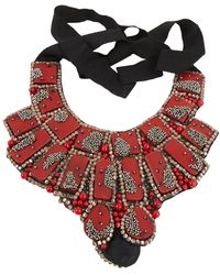 Oscar de la Renta Red Pearls Necklace