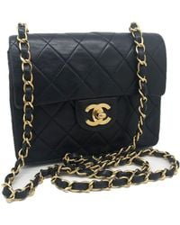 49c7010e5b22 Chanel - Pre-owned Vintage Timeless/classique Black Leather Handbags - Lyst