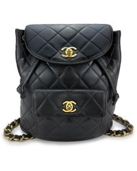 Chanel Timeless/classique Black Leather Backpack