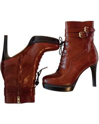 Burberry Leather Boots - Brown