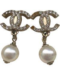 Chanel Cc White Pearl Earrings