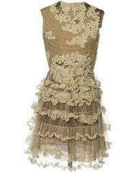 Valentino - Beige Synthetic Dress - Lyst