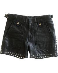 Isabel Marant Shorts in pelle nero