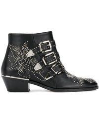 Chloé Susanna Black Leather Ankle Boots