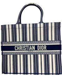 Dior Bolso de mano Book Tote en Algodón Marino - Azul
