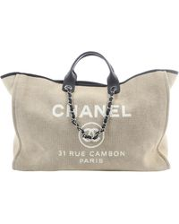 Chanel Deauville Beige Cloth Travel Bag - Natural
