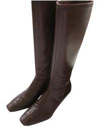Louis Vuitton Botas en cuero marrón