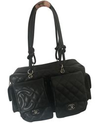 Chanel Cambon Black Leather Handbag